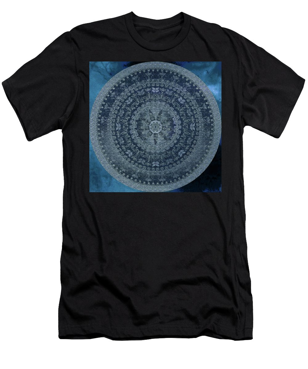 Blue Men's T-Shirt (Athletic Fit) featuring the digital art Vintage Denim Mandala by Nina May