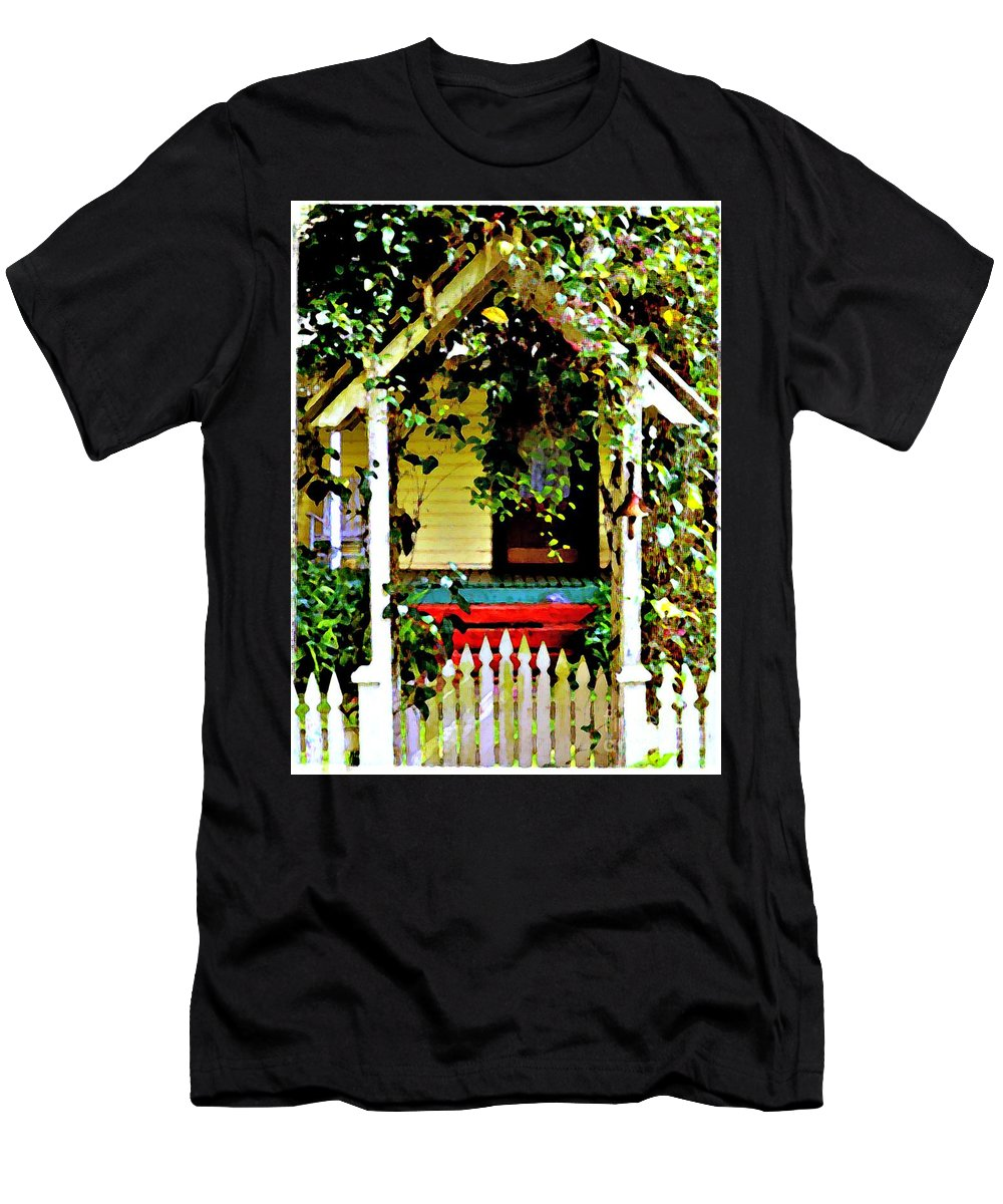 Vintage Men's T-Shirt (Athletic Fit) featuring the photograph Vintage Garden Arbor Gate by Diann Fisher