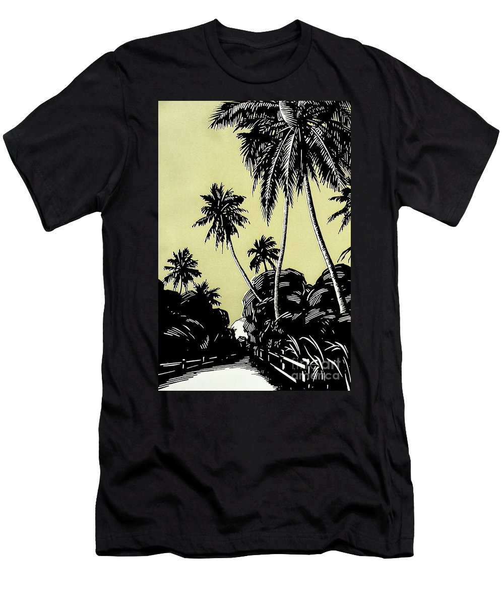 1926 Men's T-Shirt (Athletic Fit) featuring the painting Vintage Hawaii Palms by Hawaiian Legacy Archive - Printscapes