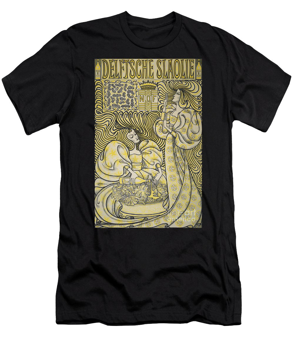 Banner Men's T-Shirt (Athletic Fit) featuring the painting Vintage Poster Advertising Delft Salad Oil, 1894 by Jan Theodore Toorop
