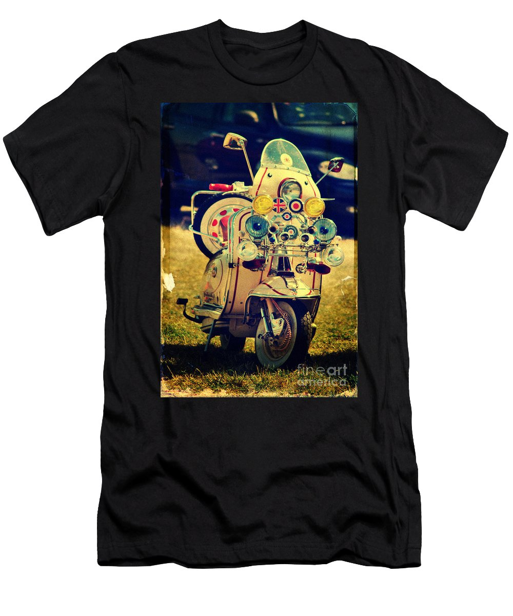 Yhun Suarez Men's T-Shirt (Athletic Fit) featuring the photograph Vintage Scooter by Yhun Suarez
