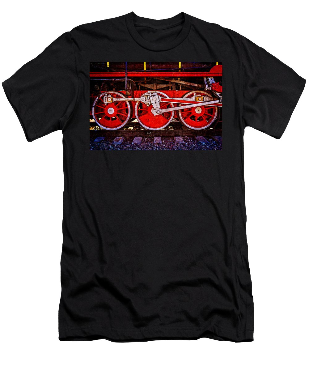 Train Men's T-Shirt (Athletic Fit) featuring the photograph Vintage Steam Train Wheels by Alexander Senin