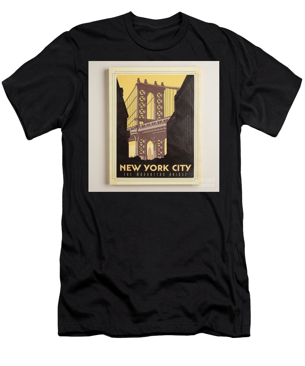 Vintage-style New York City Poster Men's T-Shirt (Athletic Fit) featuring the painting Vintage-style New York City Poster by MotionAge Designs