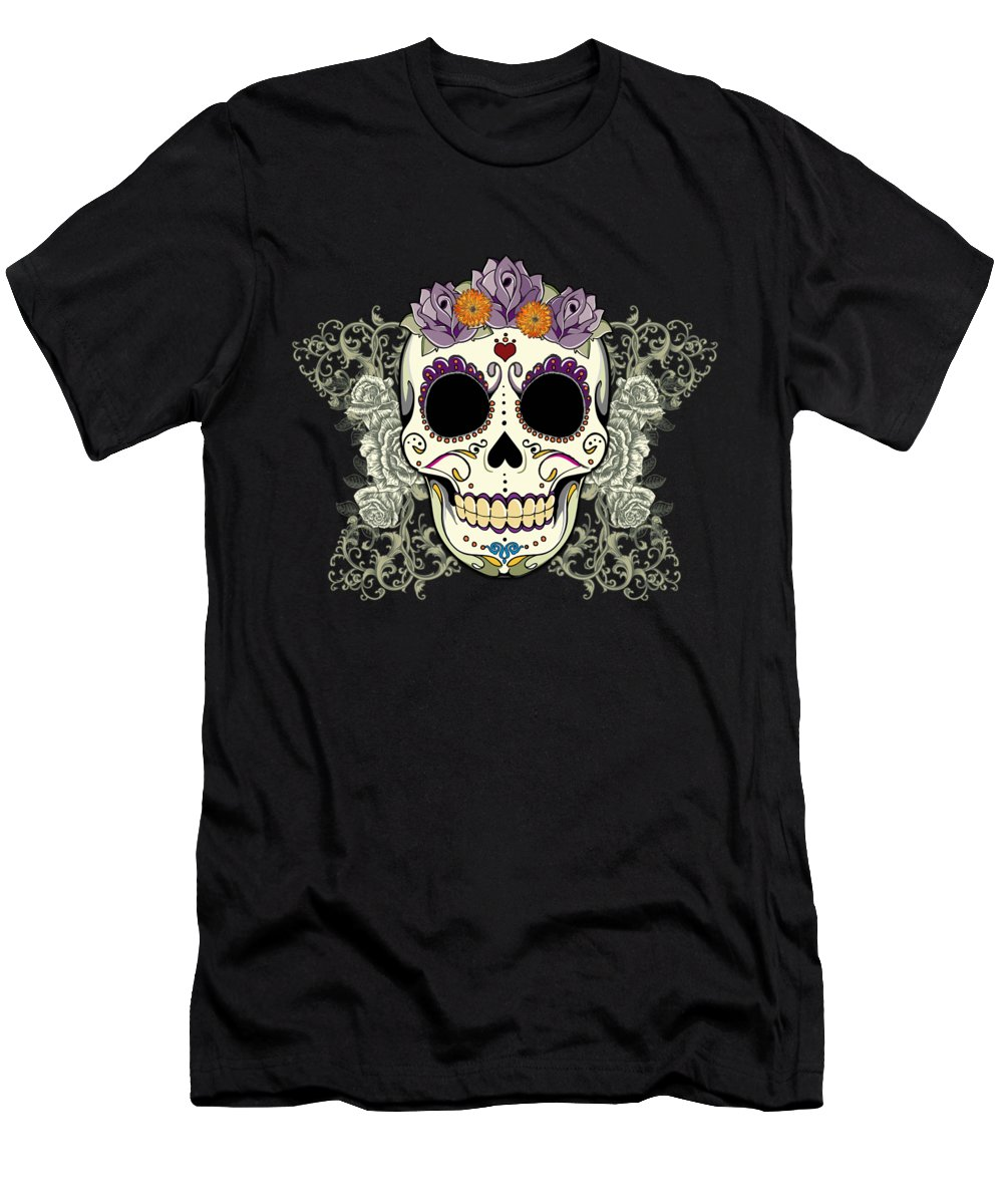 Purple Men's T-Shirt (Athletic Fit) featuring the digital art Vintage Sugar Skull And Flowers by Tammy Wetzel