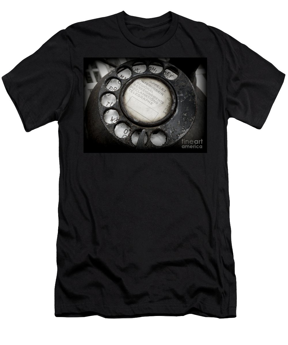 Telephone Men's T-Shirt (Athletic Fit) featuring the photograph Vintage Telephone by Lainie Wrightson