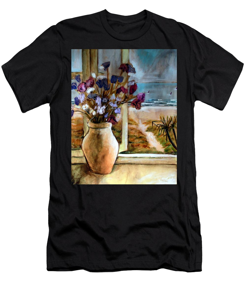 Beaches Men's T-Shirt (Athletic Fit) featuring the painting Violet Beach Flowers by Winsome Gunning