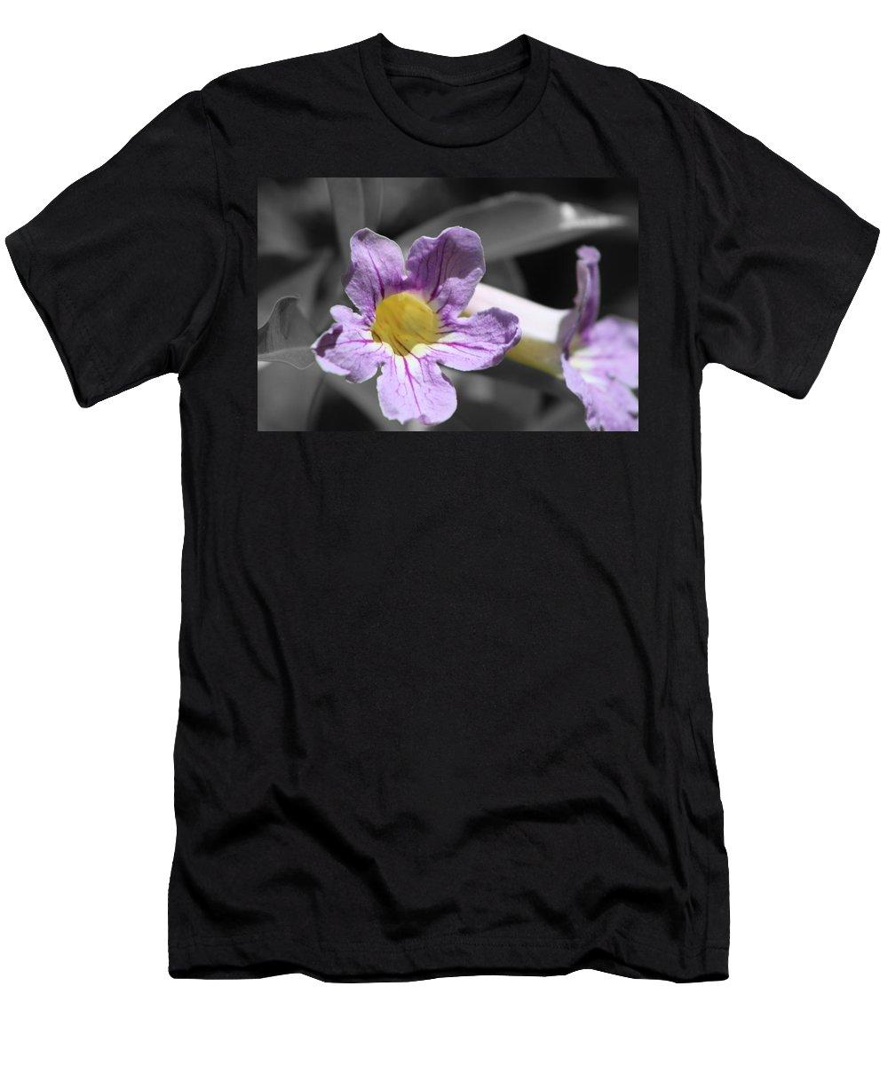 Violet Trumpet Vine Men's T-Shirt (Athletic Fit) featuring the photograph Violet Trumpet Vine Selective Color by Colleen Cornelius