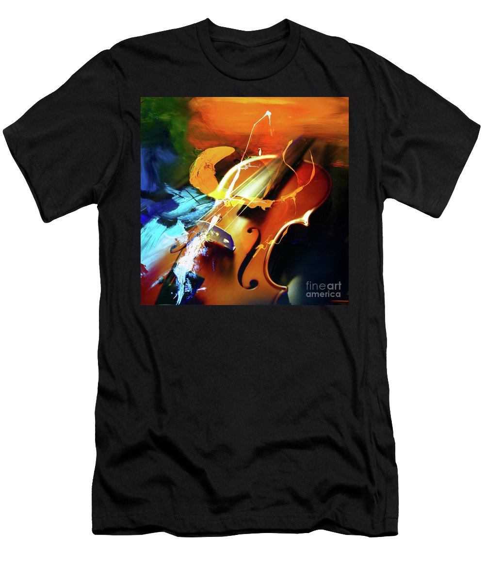 Guitar Men's T-Shirt (Athletic Fit) featuring the painting Violin Painting Art 51 by Gull G