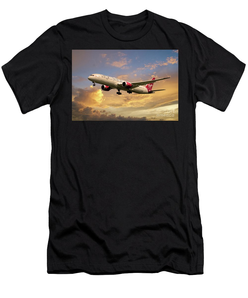 Boeing 787 Men's T-Shirt (Athletic Fit) featuring the digital art Virgin Atlantic Boeing 787 Dreamliner by J Biggadike