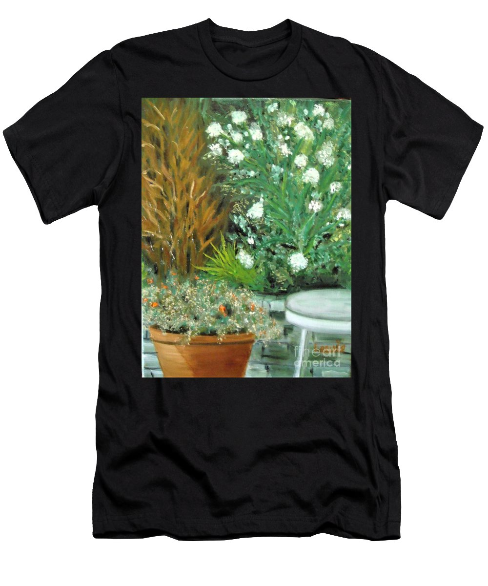 Plein Air T-Shirt featuring the painting Virginia's Garden by Laurie Morgan