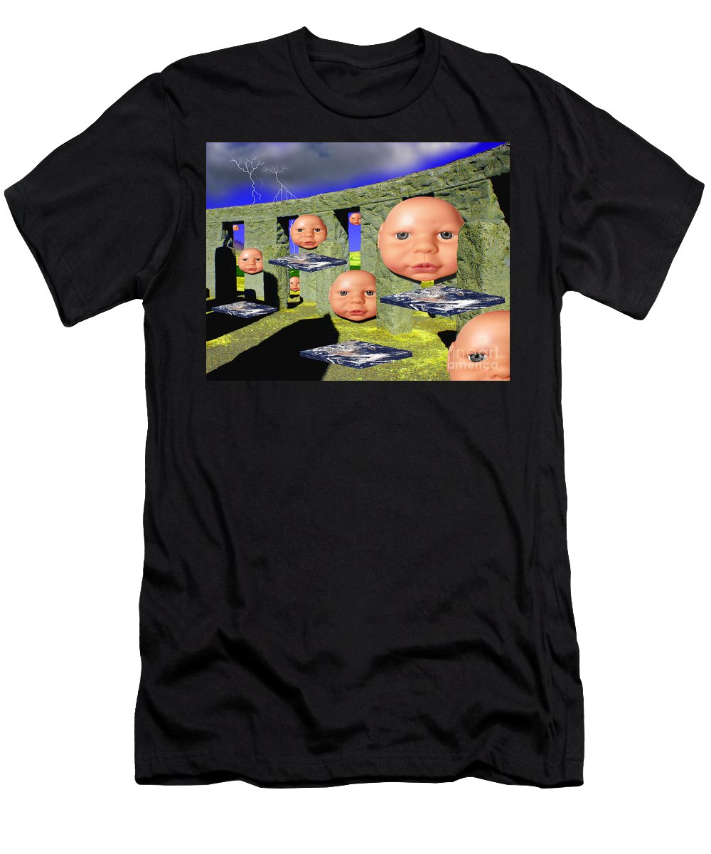 Landscape Men's T-Shirt (Athletic Fit) featuring the digital art Virtual Stonehedge by Keith Dillon