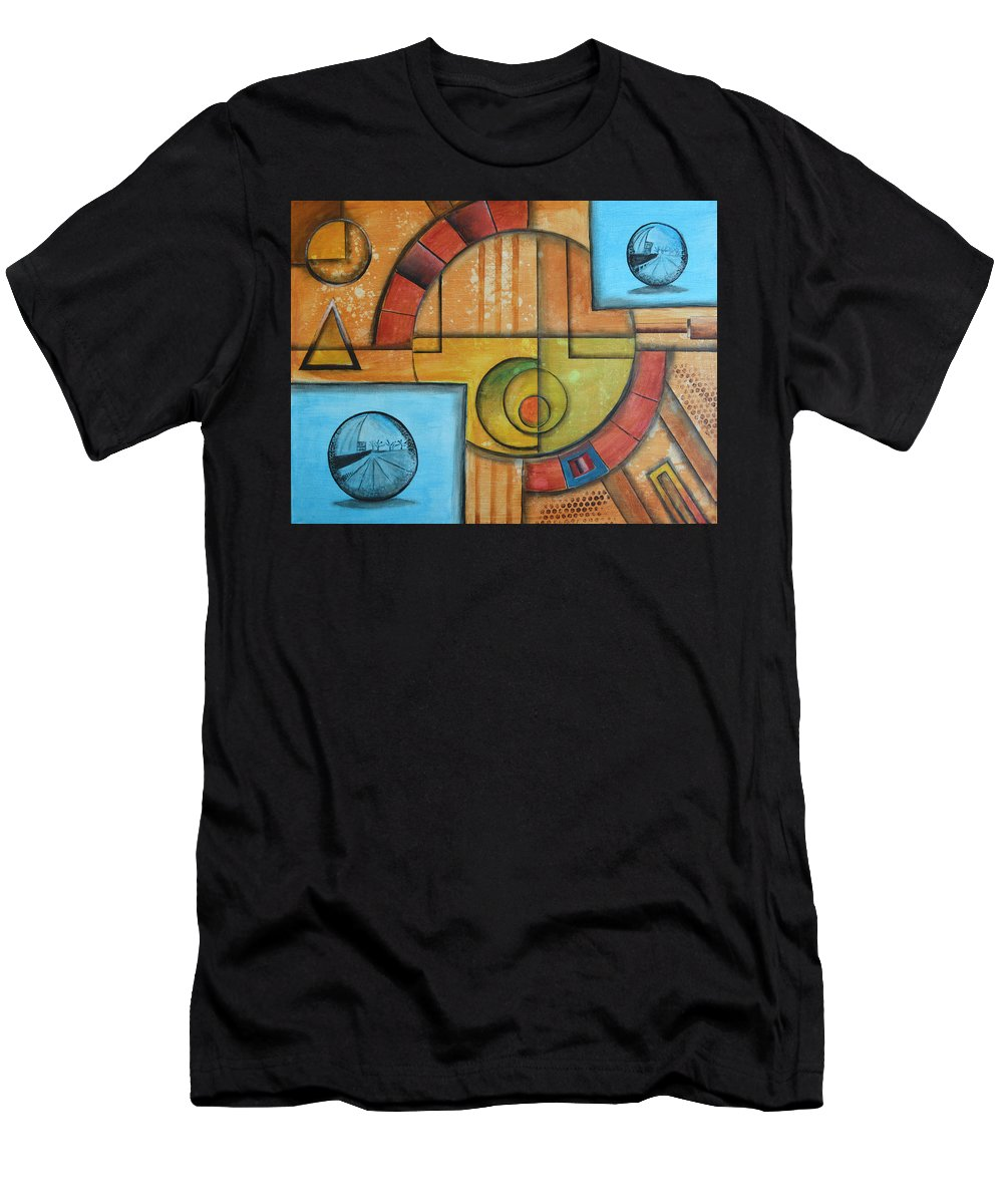 Geometric Men's T-Shirt (Athletic Fit) featuring the painting Visions Of Red Wheel by Arkadiusz Kulesza