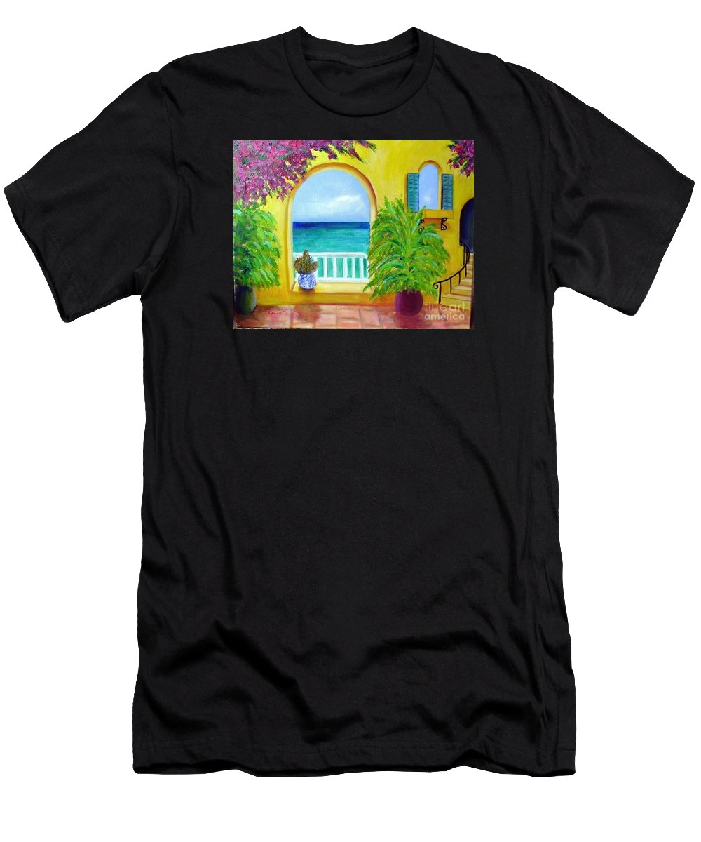 Patio Men's T-Shirt (Athletic Fit) featuring the painting Vista Del Agua by Laurie Morgan