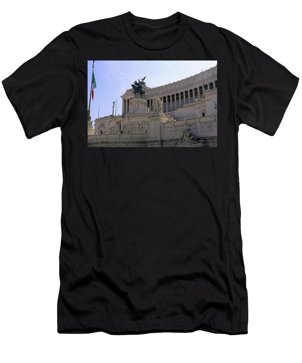 Rome Men's T-Shirt (Athletic Fit) featuring the photograph Vittorio Emanuele II Monument by Tony Murtagh