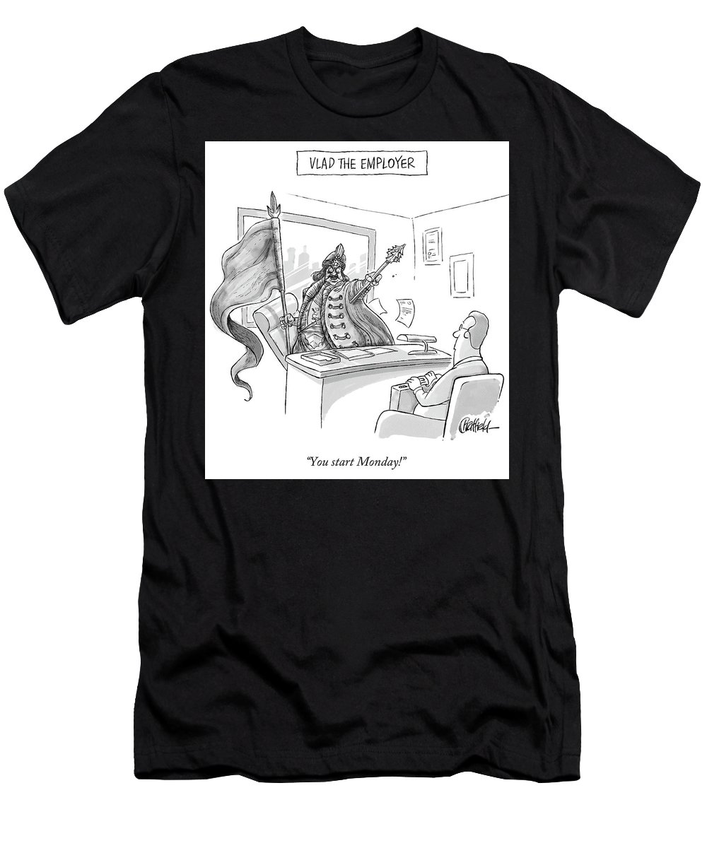 Monday T-Shirt featuring the drawing Vlad The Employer by Jason Chatfield