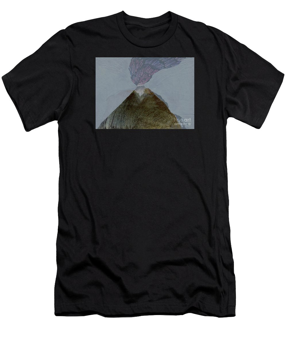 Volcano Painting Men's T-Shirt (Athletic Fit) featuring the painting Volcano Dawn - Original Acrylic Painting by Elizabetha Fox