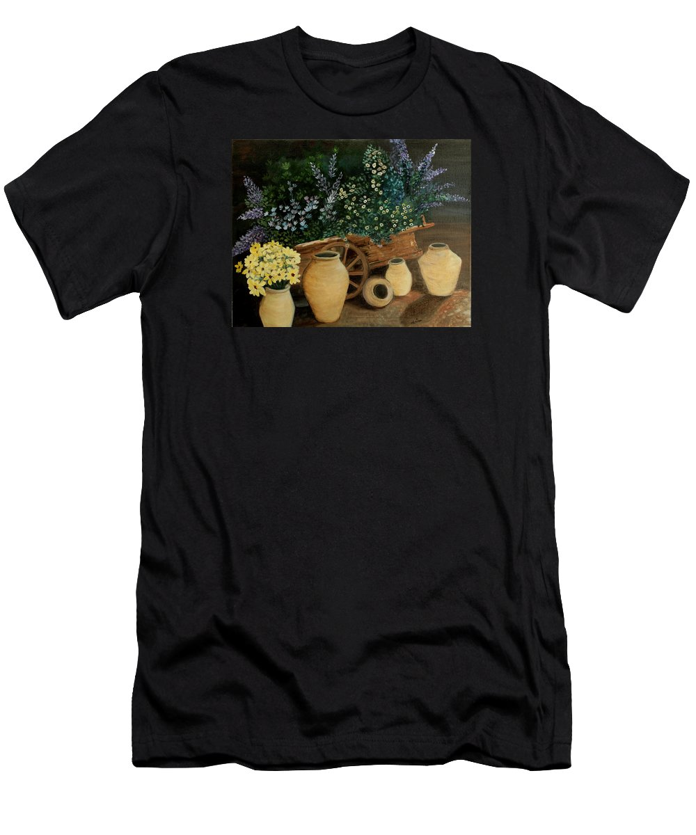Wagon Men's T-Shirt (Athletic Fit) featuring the painting Wagon Of Fall Beauty by Leisa Robison