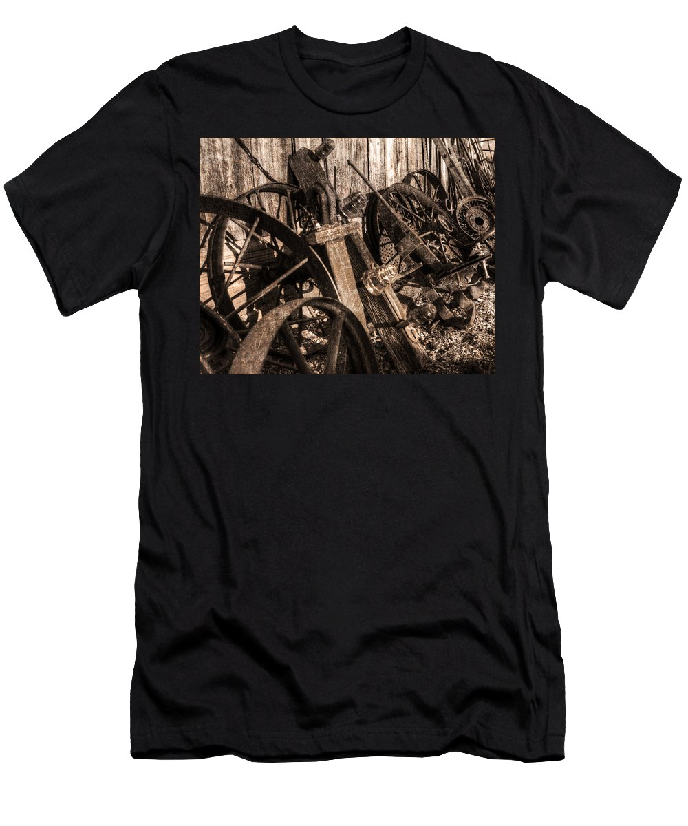Wagon Wheels Men's T-Shirt (Athletic Fit) featuring the photograph Wagons Whoa Bw by Darin Williams
