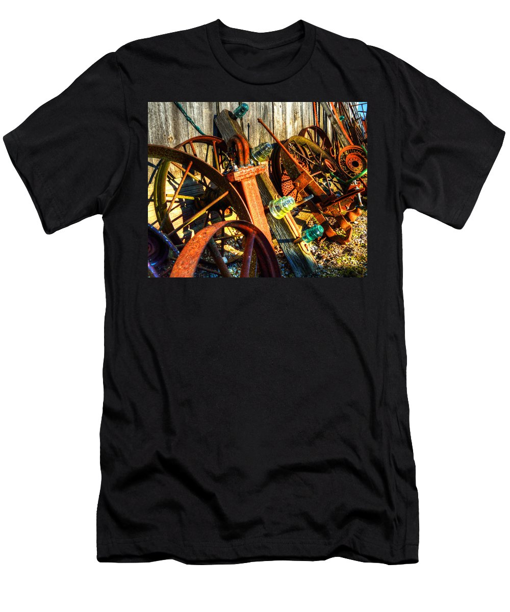 Wagon Wheels Men's T-Shirt (Athletic Fit) featuring the photograph Wagons Whoa by Darin Williams