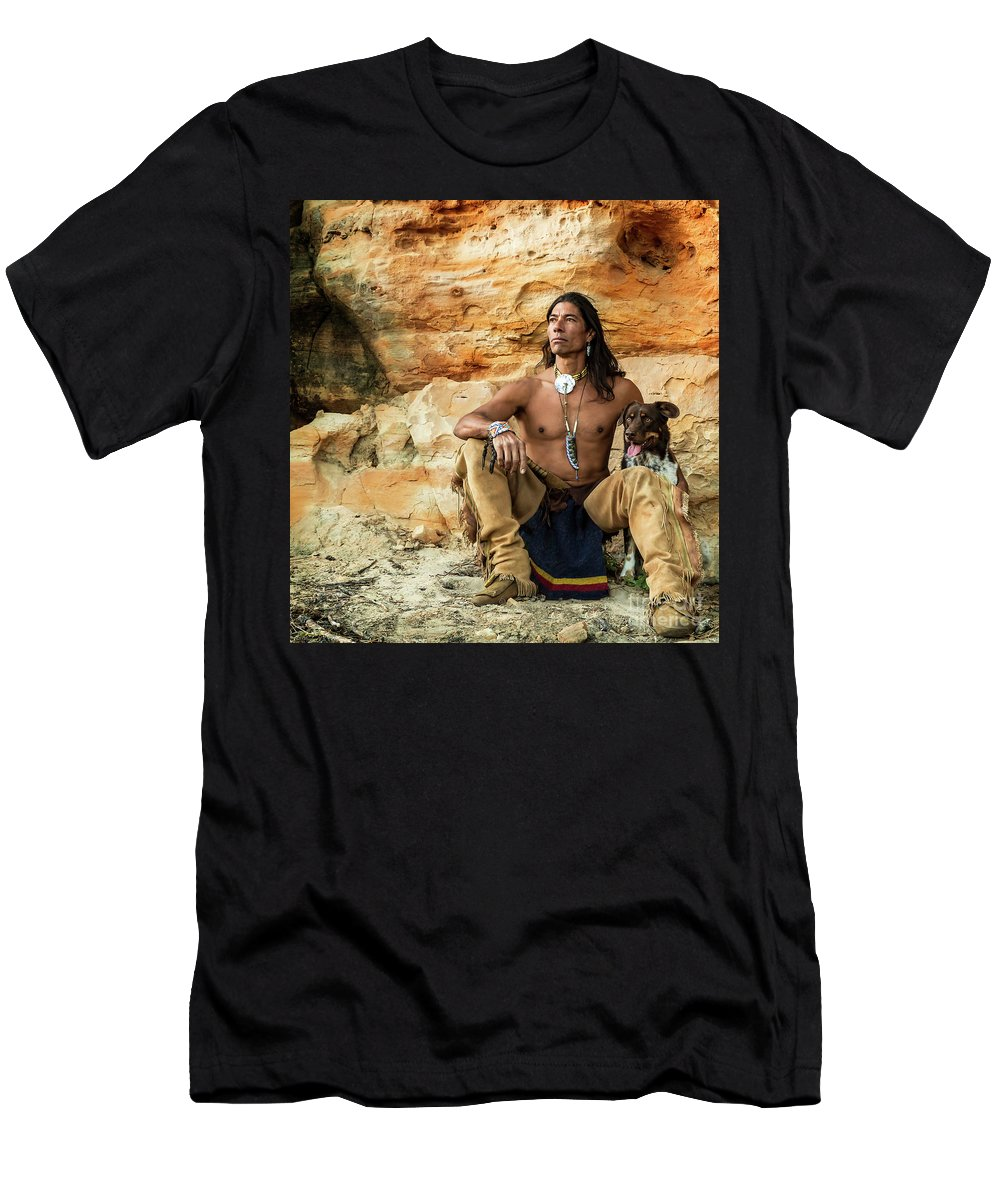 Native American Men's T-Shirt (Athletic Fit) featuring the photograph We Wait. We Watch. by Phyllis Webster