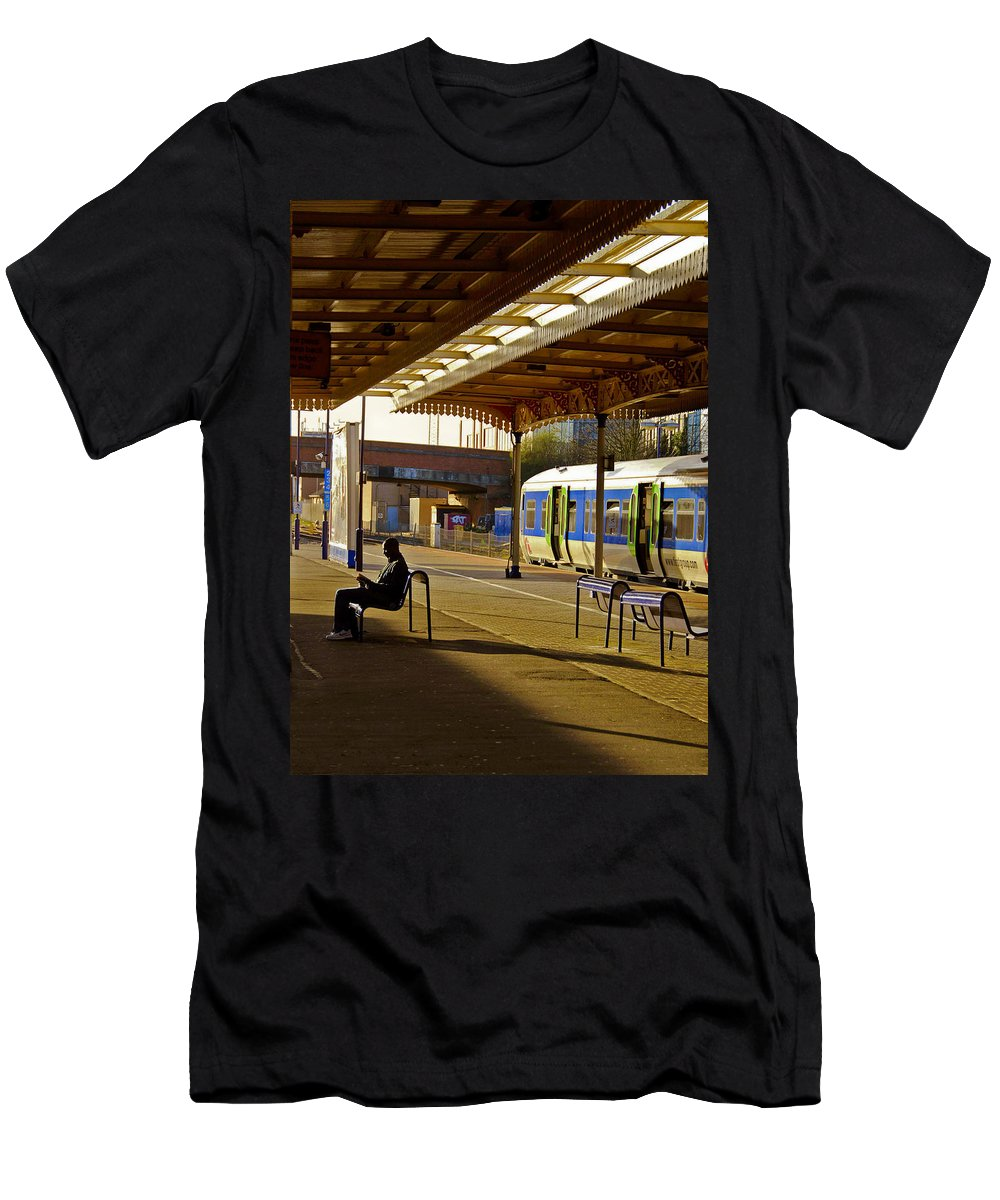 Train Men's T-Shirt (Athletic Fit) featuring the photograph Waitin' For The Train by Stephen Anderson