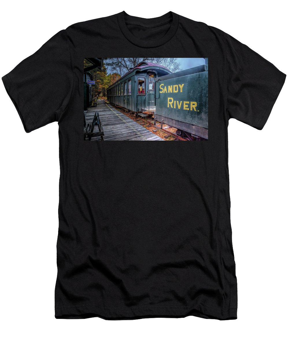 Train Men's T-Shirt (Athletic Fit) featuring the photograph Waiting At The Station by Jeff Cooper