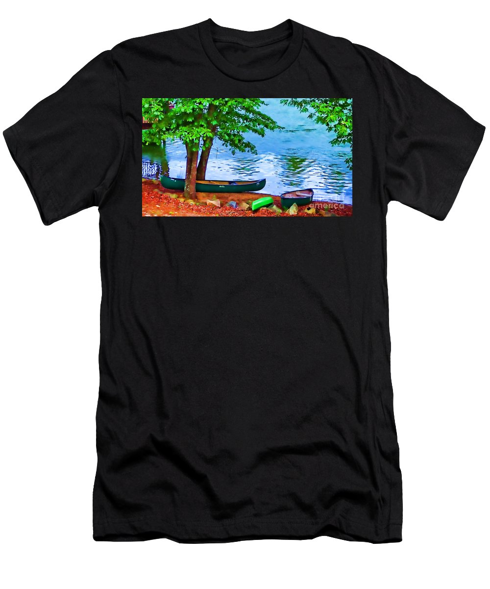 Canoe Men's T-Shirt (Athletic Fit) featuring the photograph Waiting By The River by Doug Berry