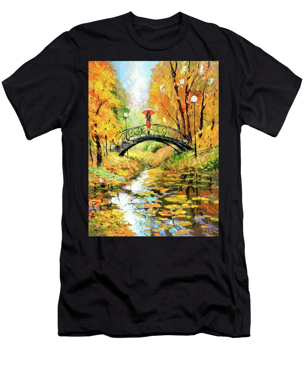 Bench Painting Men's T-Shirt (Athletic Fit) featuring the painting Waiting by Dmitry Spiros