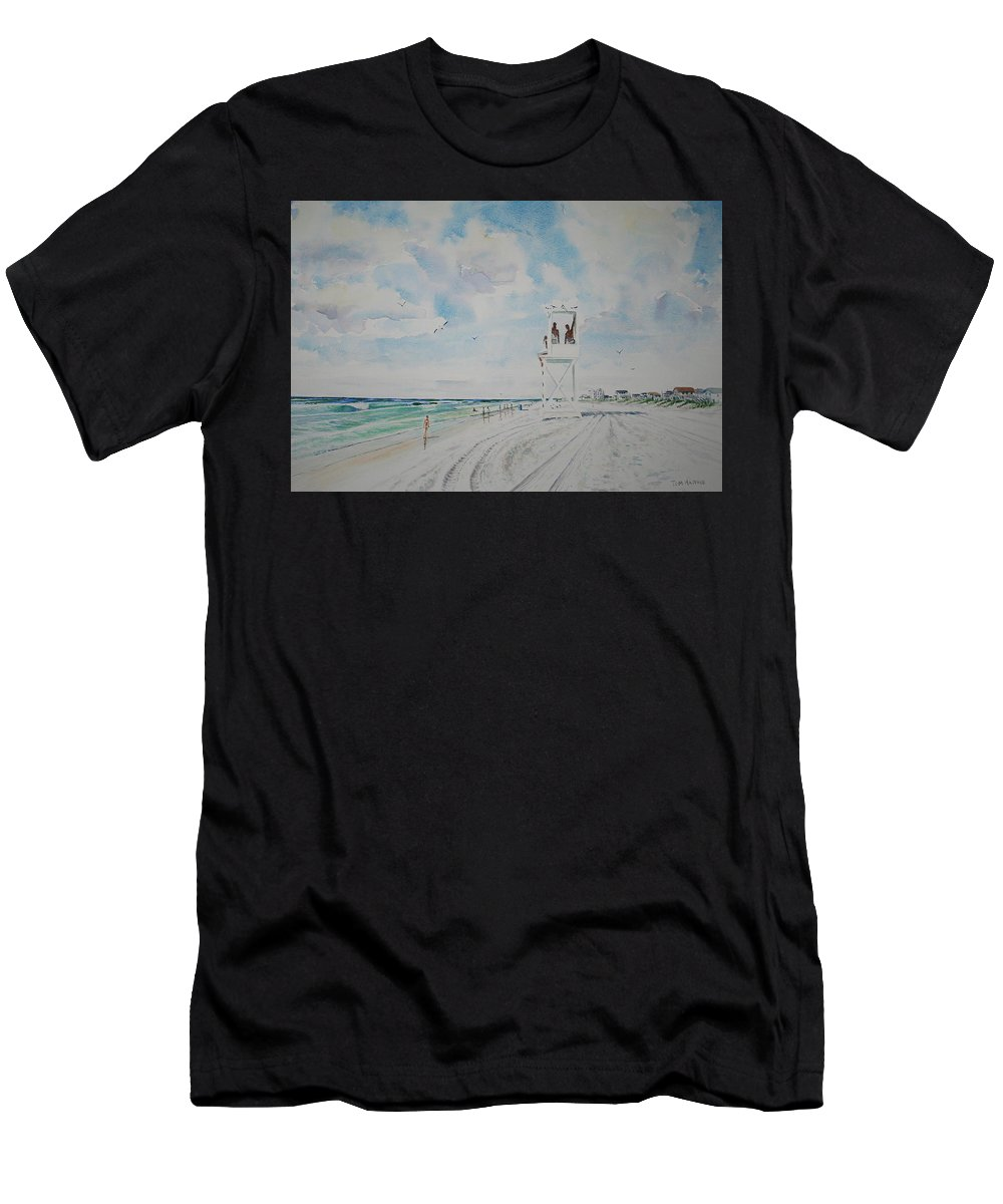 Ocean Men's T-Shirt (Athletic Fit) featuring the painting Waiting For The Lifeguard by Tom Harris