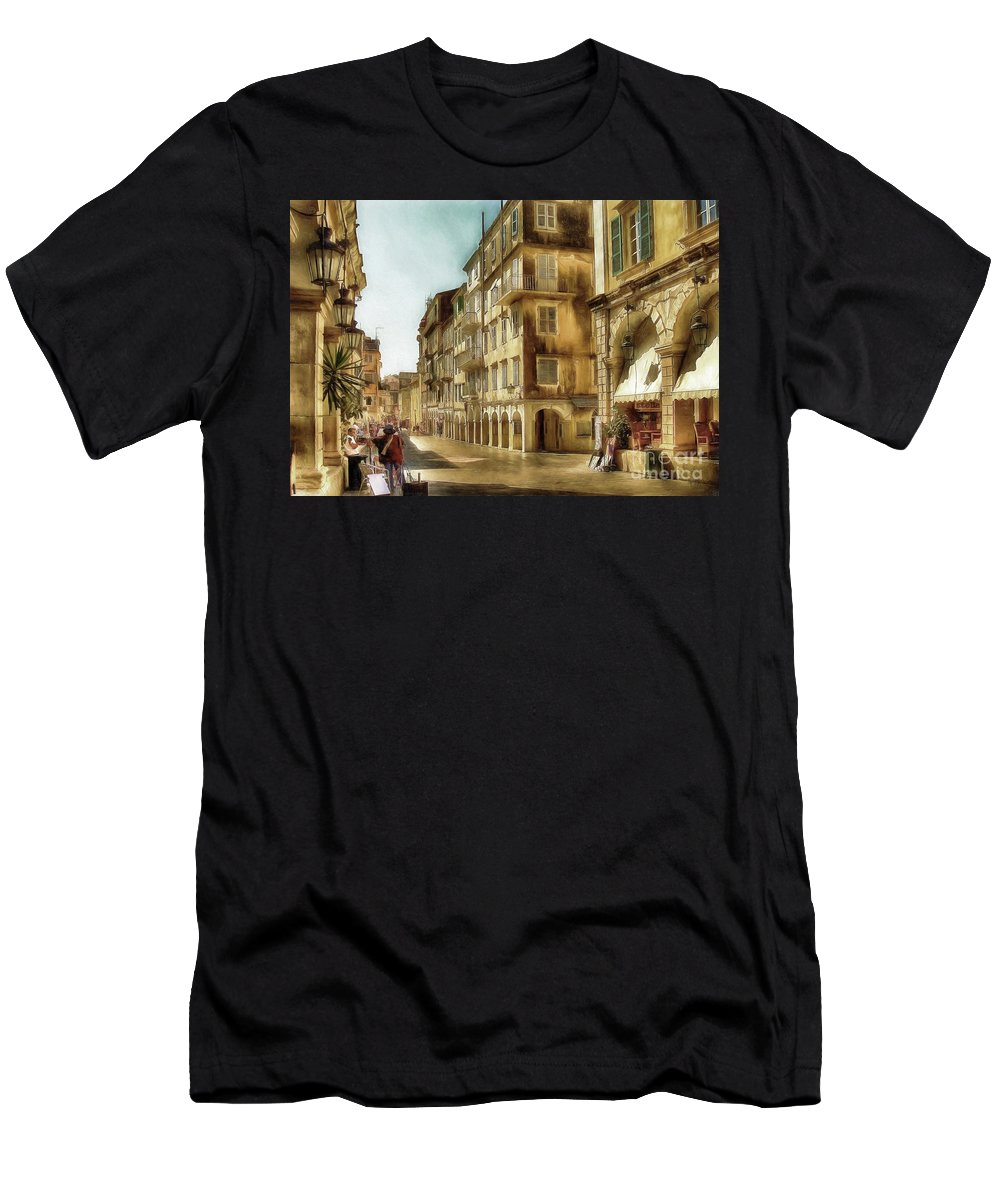 Corfu Men's T-Shirt (Athletic Fit) featuring the photograph Waiting For The Tourists by Lois Bryan
