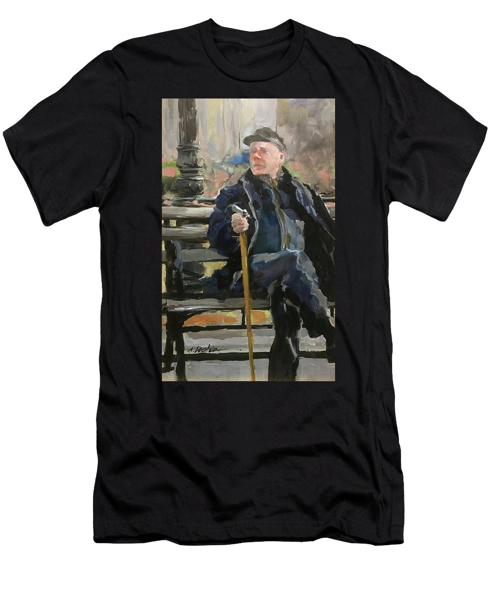 Men's T-Shirt (Athletic Fit) featuring the painting Waiting On The Bus by Steven Lester