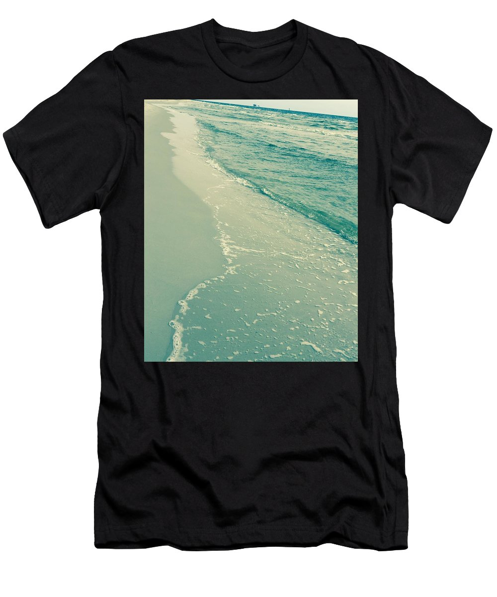 Landscape Men's T-Shirt (Athletic Fit) featuring the photograph Walk Along The Beach by Amber Skinner