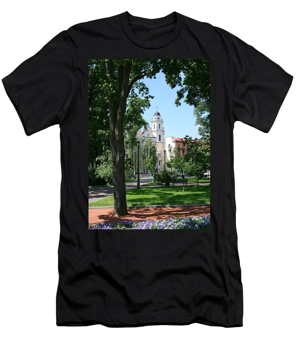 Park City Tree Trees Flowers Church Building Summer Blue Sky Green Walk Bench Men's T-Shirt (Athletic Fit) featuring the photograph Walk In The Park by Andrei Shliakhau