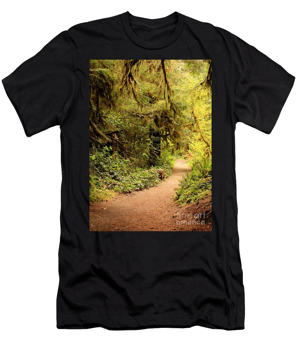 Forest Men's T-Shirt (Athletic Fit) featuring the photograph Walk Into The Forest by Carol Groenen