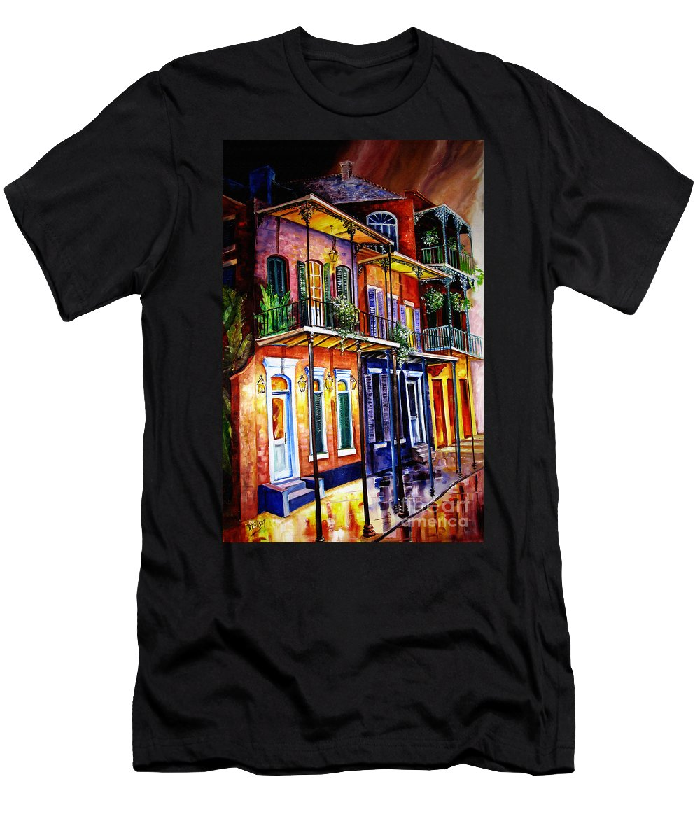 New Orleans Paintings Men's T-Shirt (Athletic Fit) featuring the painting Walk Into The French Quarter by Diane Millsap