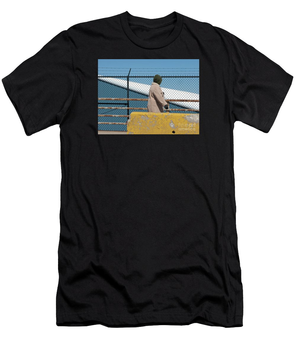 Woman Men's T-Shirt (Athletic Fit) featuring the photograph Walking The Dog by Ann Horn