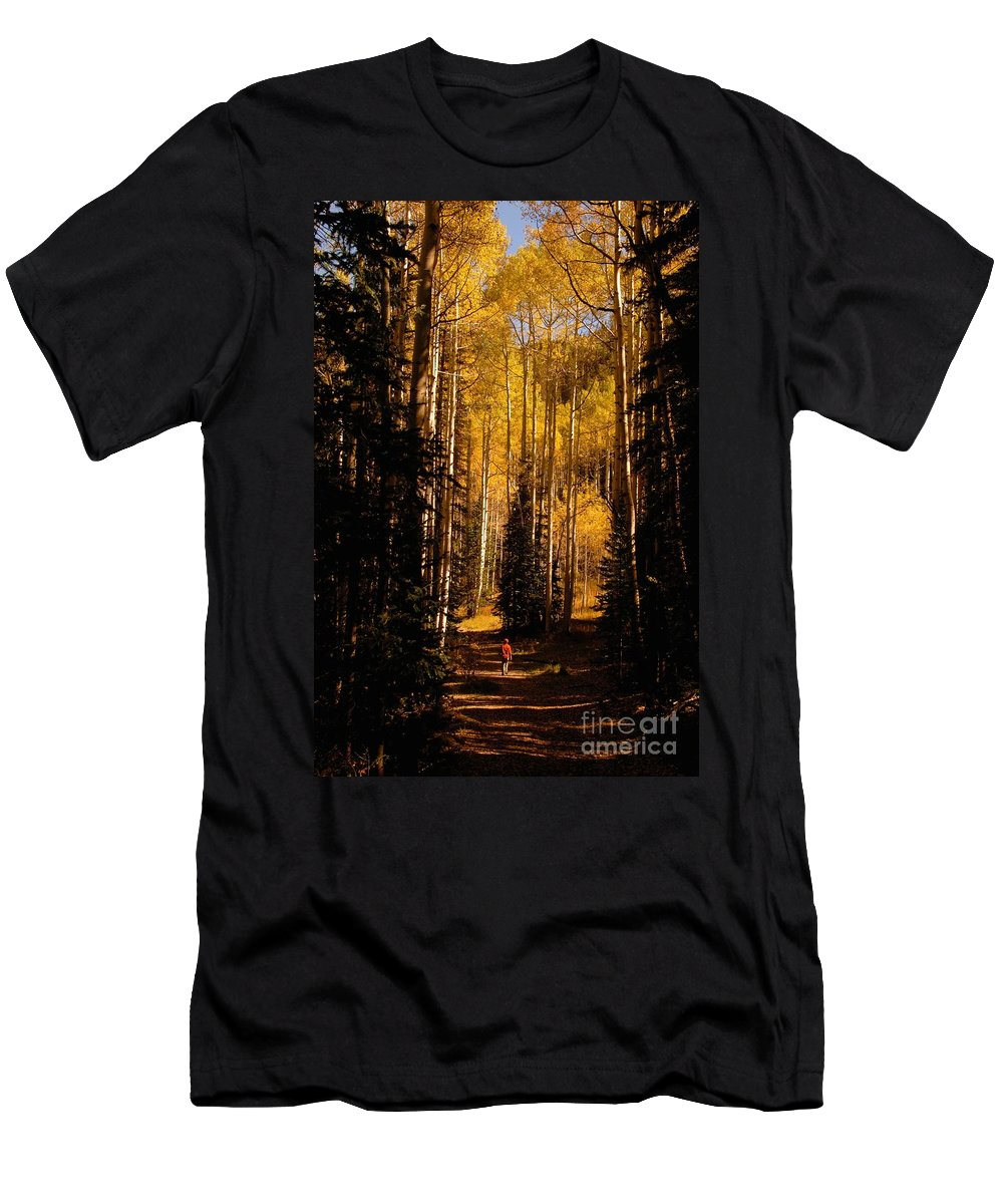 Landscape Men's T-Shirt (Athletic Fit) featuring the photograph Walking With Aspens by David Lee Thompson