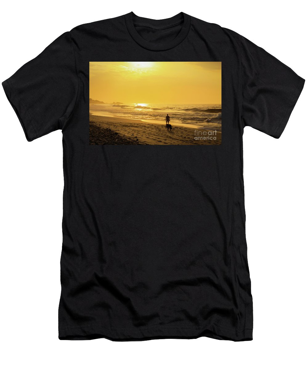 Sand Men's T-Shirt (Athletic Fit) featuring the photograph Walking With My Best Friend by Mao Lopez