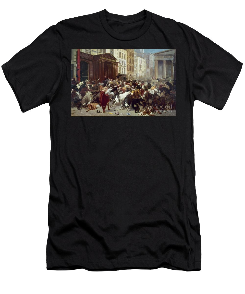 1879 Men's T-Shirt (Athletic Fit) featuring the photograph Wall Street: Bears & Bulls by Granger