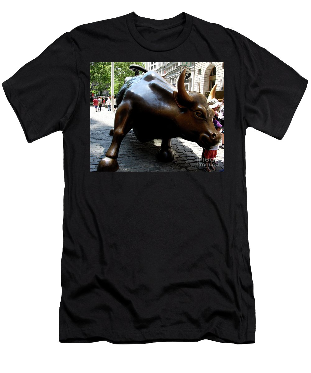 Bull Men's T-Shirt (Athletic Fit) featuring the photograph Wall Street Bull by Christiane Schulze Art And Photography