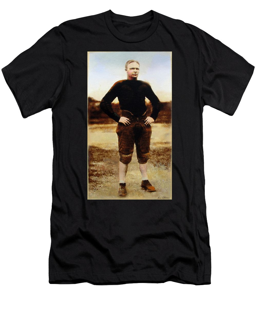 Mercer University Men's T-Shirt (Athletic Fit) featuring the mixed media Wally Butts by Anne Lattimore