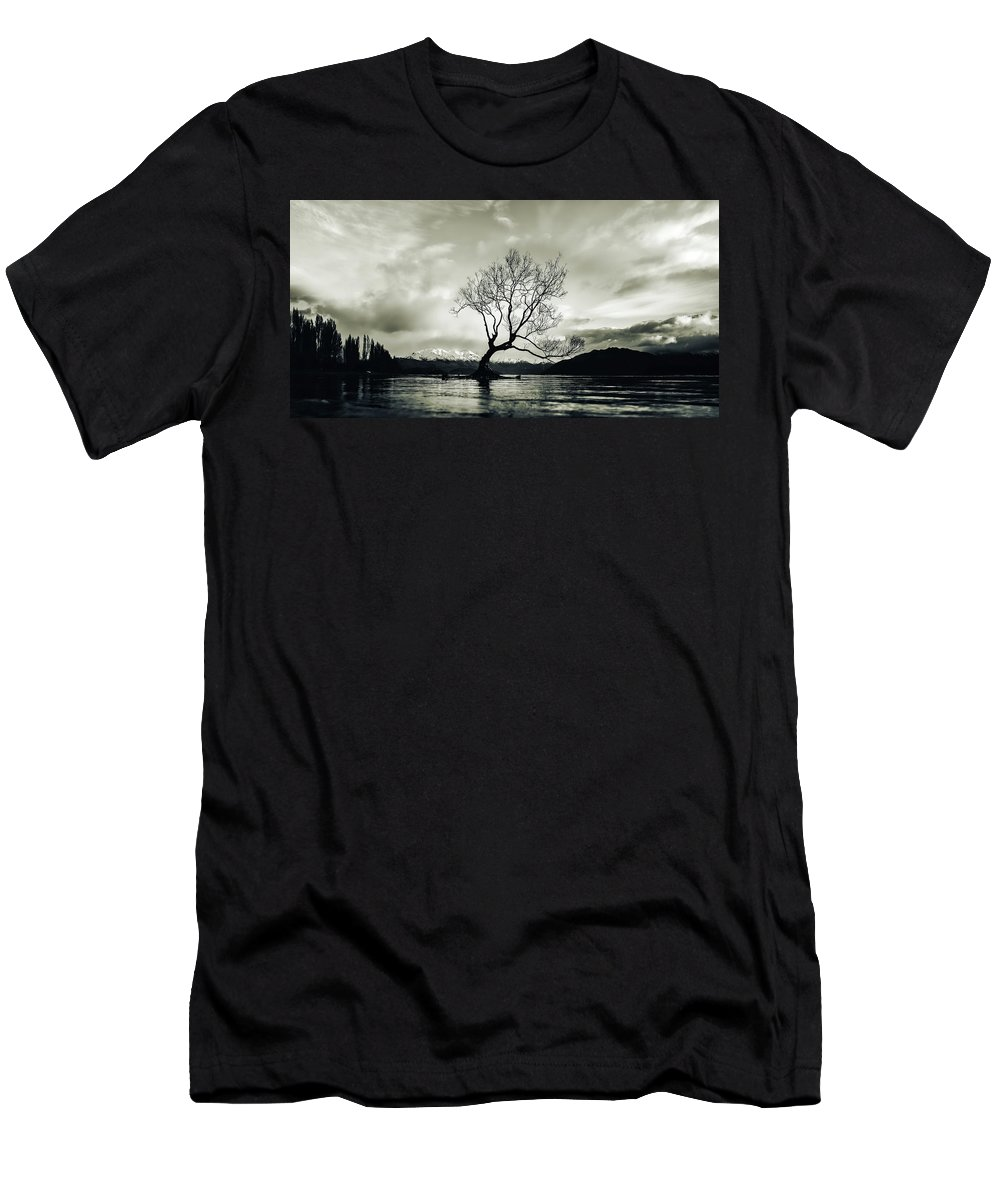 Wanaka Tree Men's T-Shirt (Athletic Fit) featuring the photograph Wanaka Tree - New Zealand by Unsplash