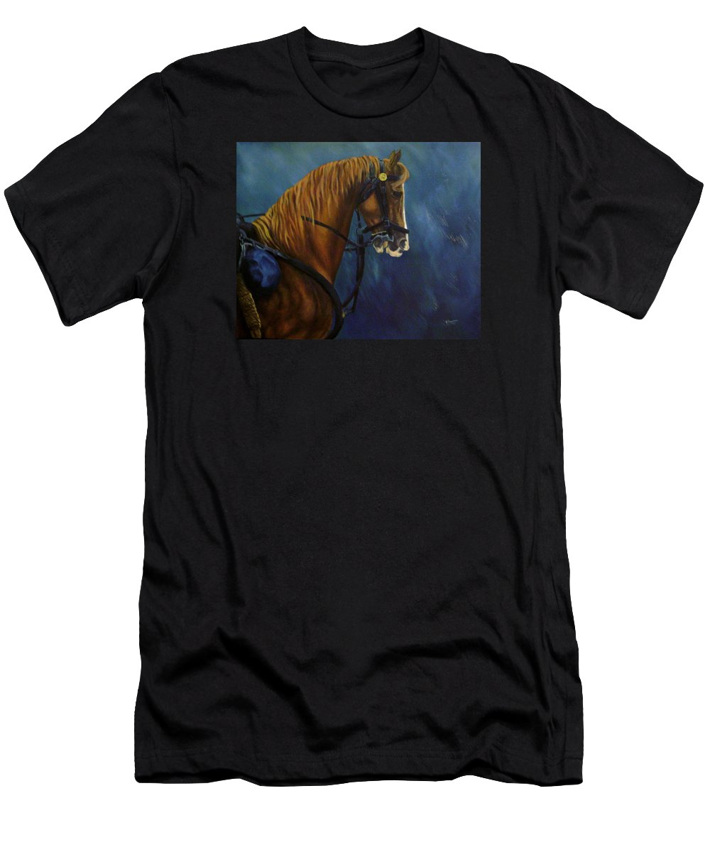 Civil War Men's T-Shirt (Athletic Fit) featuring the painting Warhorse-us Cavalry by Joann Renner