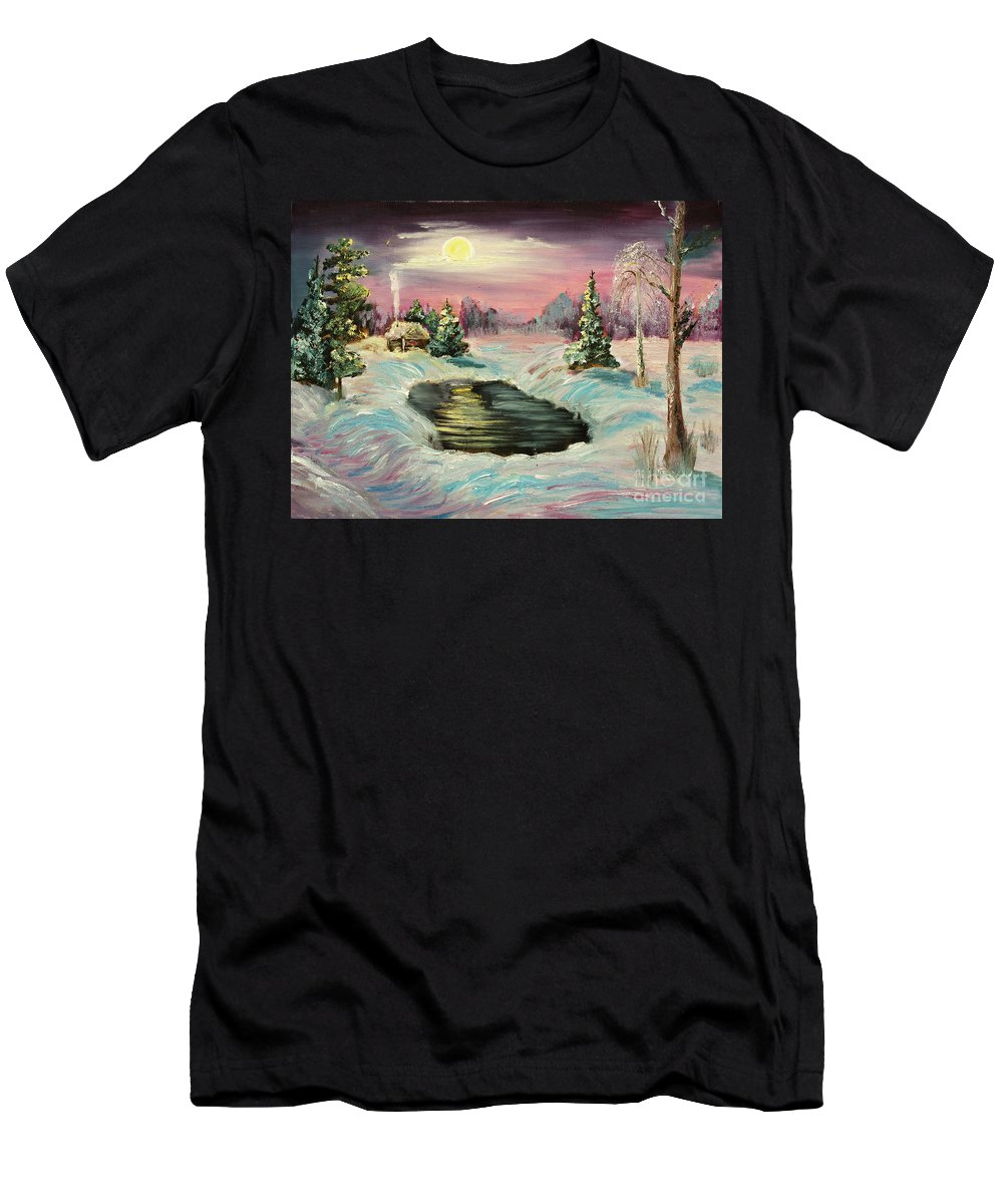 Original Men's T-Shirt (Athletic Fit) featuring the painting Warm Place by Kristian Leov