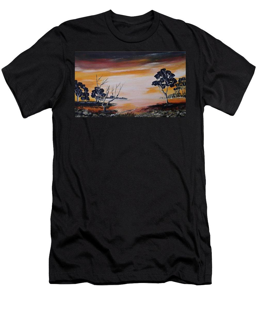Landschap Men's T-Shirt (Athletic Fit) featuring the painting Warm Sunset by Jan Gerard Bakker