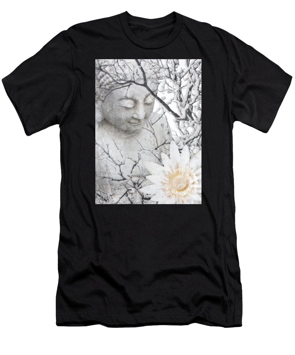 Buddha Men's T-Shirt (Athletic Fit) featuring the mixed media Warm Winter's Moment by Christopher Beikmann