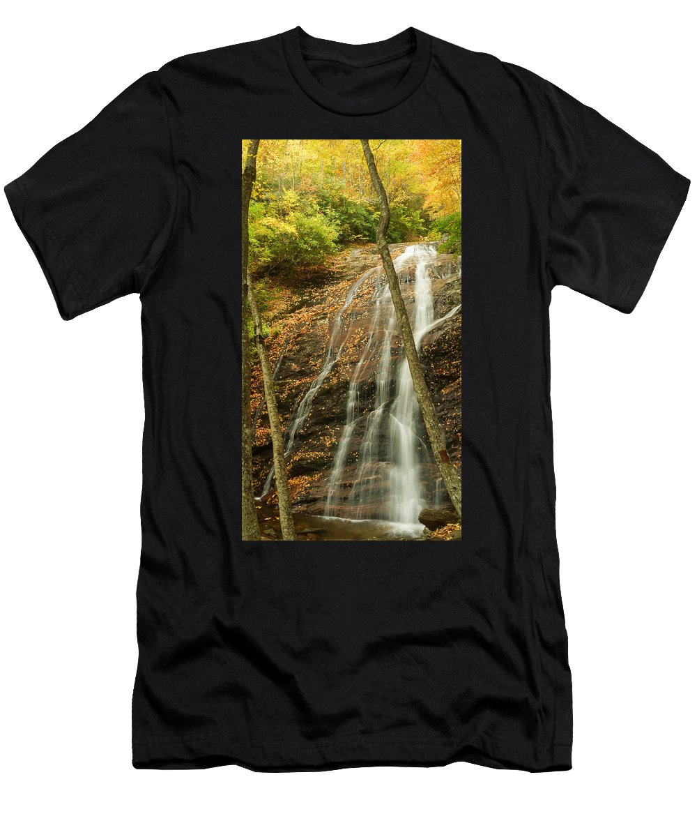 Wash Hollow Falls Nantahala National Forest Nc Men's T-Shirt (Athletic Fit) featuring the photograph Wash Hollow Falls Nantahala National Forest Nc by Wayman Benton