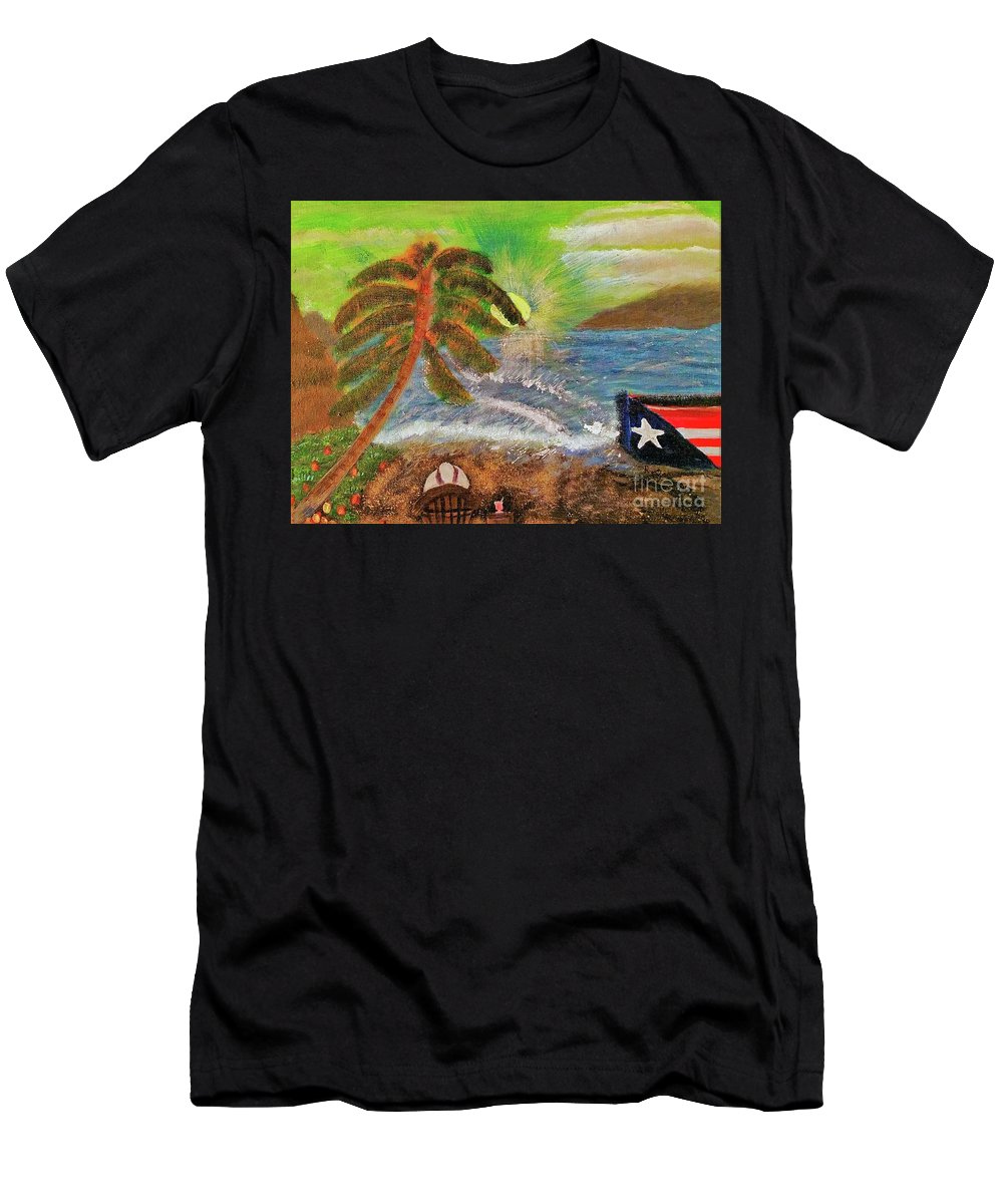 Green Men's T-Shirt (Athletic Fit) featuring the painting Washed Ashore by Regina Combs