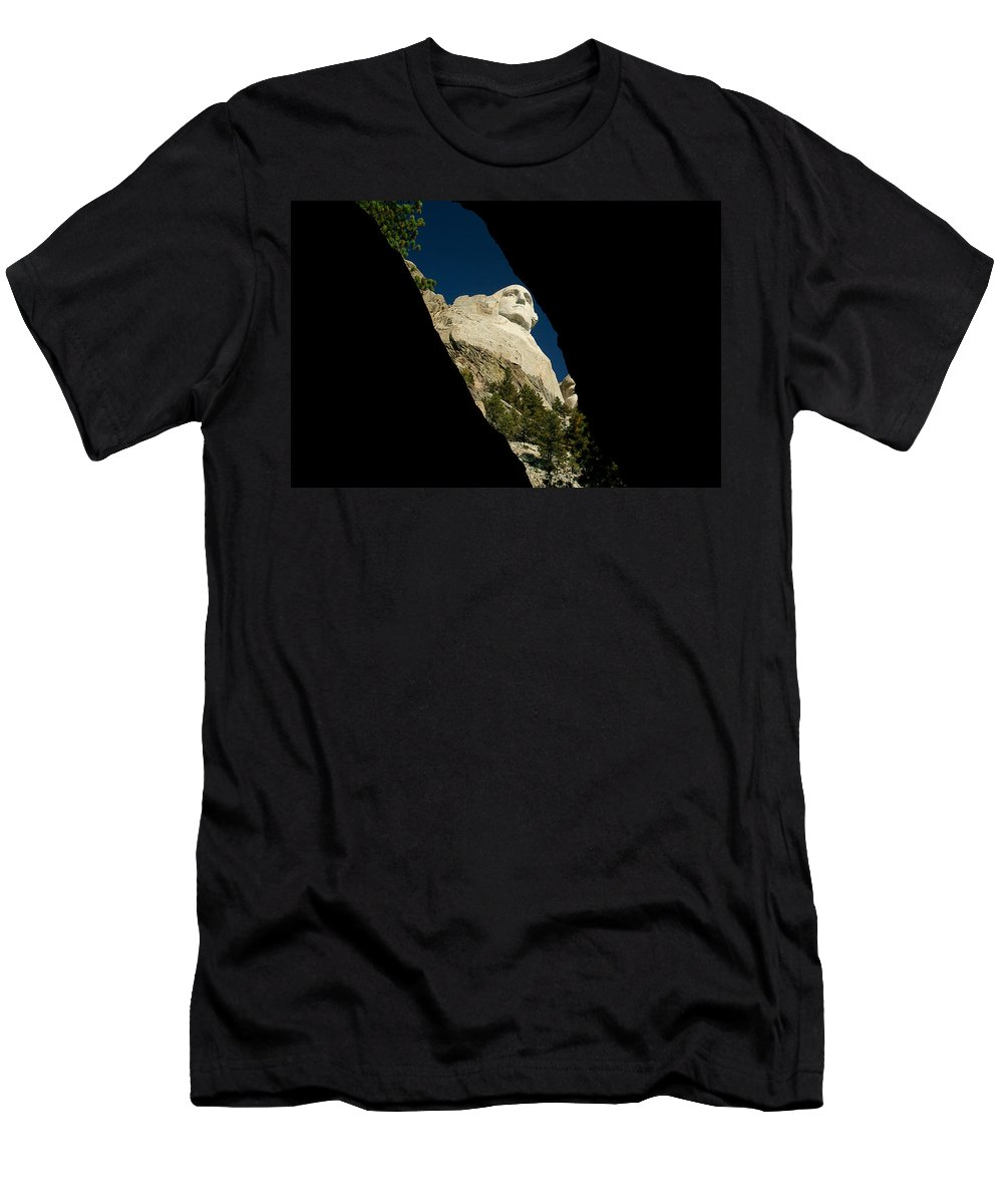 Mount Rushmore Men's T-Shirt (Athletic Fit) featuring the photograph Washington From Inside by Mike Oistad