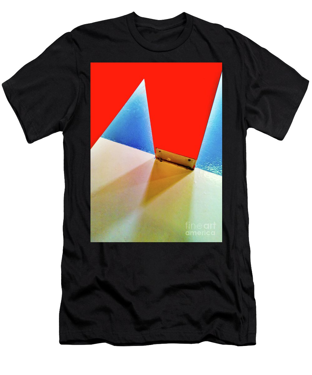 Abstract Men's T-Shirt (Athletic Fit) featuring the photograph Washroom Indoor Structure Architecture Abstract by Stephan Pietzko